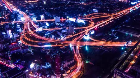 converge : Timelapse of Bangkok Expressway and Highway top view