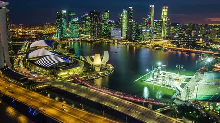 urban skyline : Hyperlapse of Singapore city skyline at night, Birdeyeview Timelapse