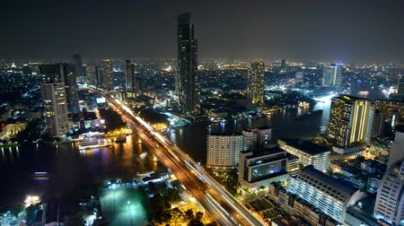 moderní : Timelapse at night of Modern city view of Bangkok, Thailand. Cityscape.