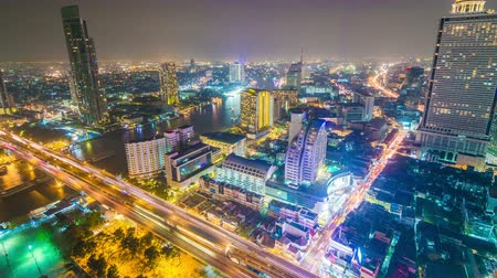 city resident : 4k timelapse of Bangkok City at night time, Hotel and resident area in the capital of Thailand Stock Footage