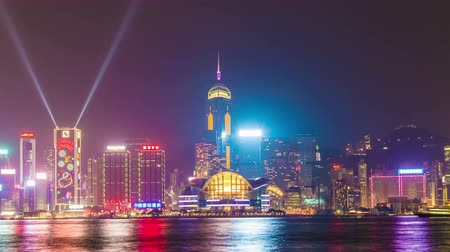 restaurante : Hong Kong skyline at night Symphony of Lights Stock Footage