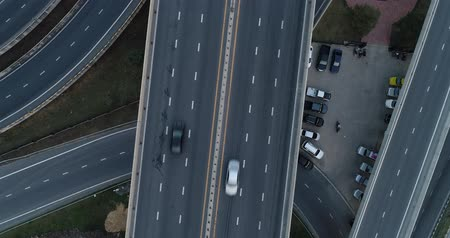 high speed road : Intersection cross road look down aerial view with vehicle movement