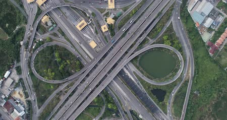 passagem elevada : Aerial view traffic interscetion cross road with vehicle movement, Transport industrial