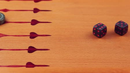 Backgammon game. Game dice made of stone lie on the backgammon board against the background of checkers. Close-up Wideo
