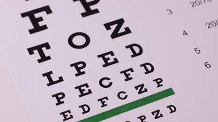 médico : Corrective glasses on the background of the Snellen vision test chart