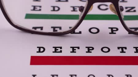 abeceda : Corrective glasses on the background of the Snellen vision test chart. Close-up