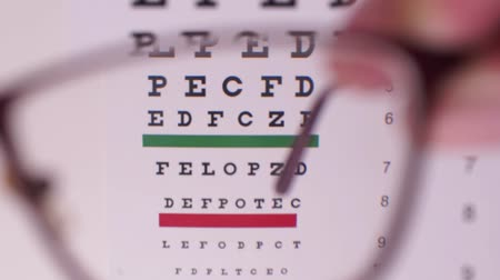 nerd : Corrective glasses on the background of the Snellen vision test chart. Camera focus through glasses lens