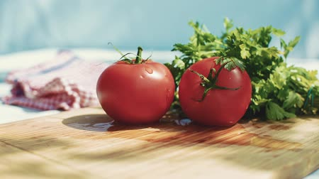 fresh food : Fresh tomatoes and parsley on kitchen desk