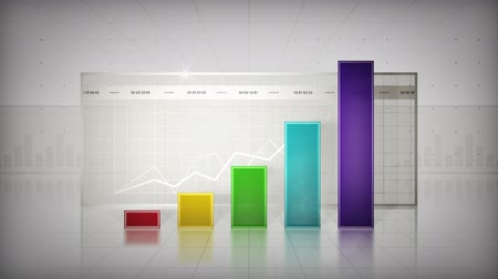 crescimento : An upward trending bar graph. Available in seven color options. Stock Footage