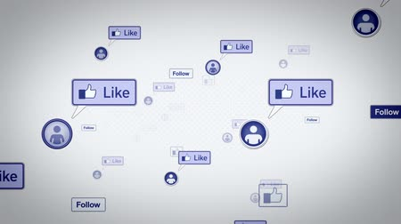 技术 : Social media likes and other icons drifting through abstract internet space. All clips loop seamlessly.