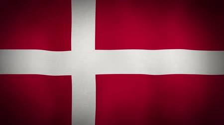 danimarka : The Denmark flag blowing in the wind. Seamless loop.
