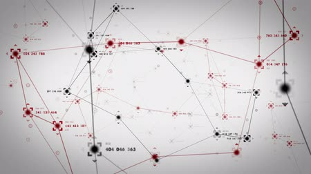 czerwone tło : An abstract representation of the nodes and connection paths within networks or systems of networks. All clips are available in multiple color options. All clips loop seamlessly. Wideo