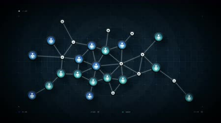 People Network Map Blue - A map of the data and connections within a network of people. This clip is available in multiple colors, loops seamlessly and has in and out transitions. Vídeos