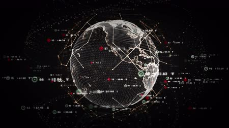 global : 4K Digital World Data Platinum - A stylized rendering of the earth as a digital entity conveying the idea of the modern digital age and global connectivity. Seamless Loop. Stock Footage