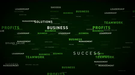 Keywords for Business Green - Essential words about business drift through cyberspace. All clips are available in multiple color options and loop seamlessly.