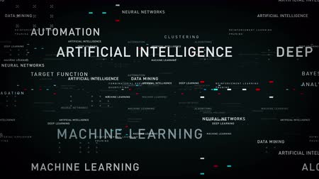 Keywords Artificial Intelligence Black  - Important terms about artificial intelligence drift through cyberspace. All clips are available in multiple color options. All clips loop seamlessly. Vídeos