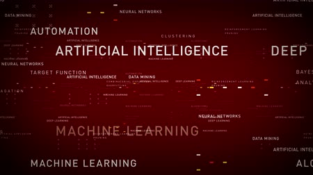 Keywords Artificial Intelligence Red - Important terms about artificial intelligence drift through cyberspace. All clips are available in multiple color options. All clips loop seamlessly.