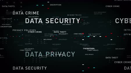 Keywords Data Security Black - Important terms about data security pass through cyberspace. All clips are available in multiple color options. All clips loop seamlessly. Vídeos