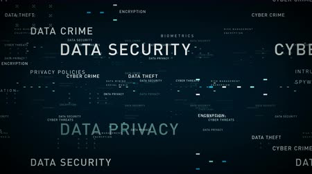 Keywords Data Security Blue - Important terms about data security pass through cyberspace. All clips are available in multiple color options. All clips loop seamlessly.