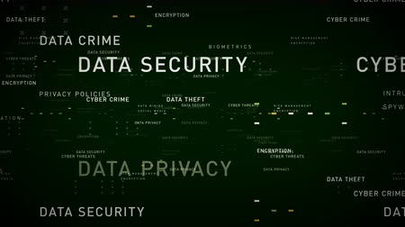 Keywords Data Security Green - Important terms about data security pass through cyberspace. All clips are available in multiple color options. All clips loop seamlessly. Vídeos