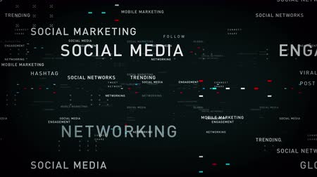 абстрактный фон : Keywords Social Media Black - Important terms about social media pass through cyberspace. All clips are available in multiple color options. All clips loop seamlessly. Стоковые видеозаписи