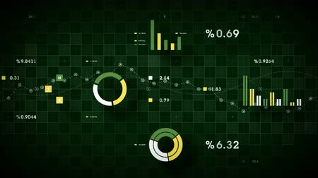 4K Business Data Tracking Green - Graphs and other business data tracking along a grid. Available in multiple color options. All clips loop seamlessly. Vídeos