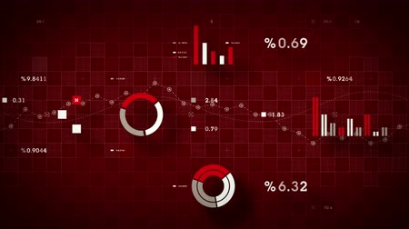 4K Business Data Tracking Red - Graphs and other business data tracking along a grid. Available in multiple color options. All clips loop seamlessly.