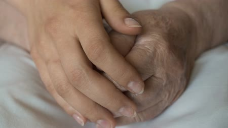 idősek : A young female hands comforting an elderly pair of hands of old women