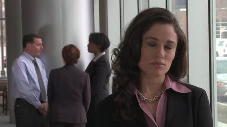 trabalho em equipe : A brunette female in her mid 30s faces the camera and appears to be stressed.