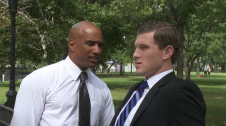 ethic : Two young businessmen hold an informal conversation in a city park. Stock Footage
