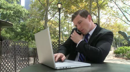 ethic : A young business man talks on his cell while working on a project.