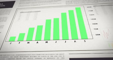 газета : Rising numbers of a chart  graph in a newspaper about finance and stock market - Positiv diagram. Finanical news. Стоковые видеозаписи