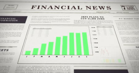 газета : Newspaper with a chart showing positive development. Financial information on paper - Rising number diagram. Increasing sales.