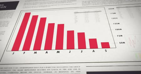 úpadek : Newspaper with a chart showing negative development. Financial information on paper - Falling number diagram. Decreasing sales. Dostupné videozáznamy