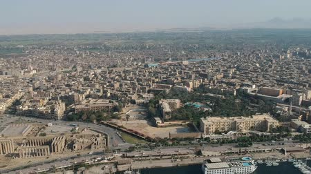 anıt : View of Nile river, Luxor temple and city Luxor in Egypt Stok Video