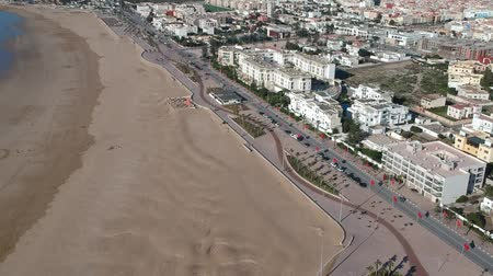 wydmy : Beach in Essaouira near Marrakech in Morocco by Drone from above Wideo