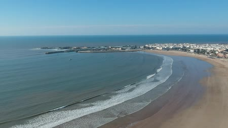 salamura : Beach in Essaouira near Marrakech in Morocco by Drone from above Stok Video