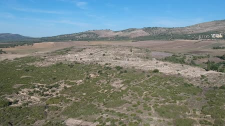 bereber : Flying over Volubilis and a Berber and Roman city at Morocco