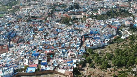 rampart : Flying over Chefchaouen in Morocco Stock Footage