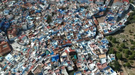 rampart : Flying over Chefchaouen in Morocco with a drone from above (Aerial)