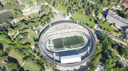 peoples : Flying with Drone over Football Stadium  Arena in City Barcelona