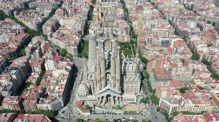 museum : Flying Drone over Sagrada Familia at City Barcelona - Eixample District 4k