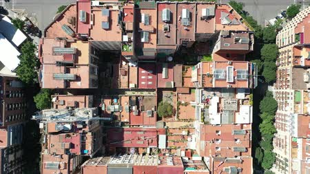 peoples : Flying Drone over Houses and Streets in Barcelona City - Eixample District