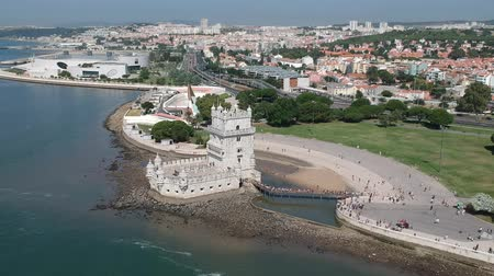 belem : Flying over Torre de Belem with Drone in Lisbon and Portugal Stock Footage