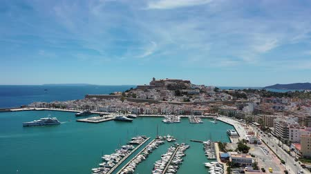 Flying with Drone over the Dalt Vila of Eivissa and its cathedral (Ibiza) Stock mozgókép
