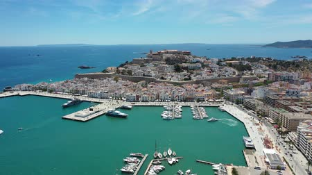 Flying with Drone over the Dalt Vila of Eivissa and its cathedral (Ibiza) Stockvideo