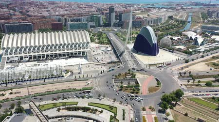 peoples : Flying over Bridge and City of Arts and Sciences at Valencia and Spain with Drone
