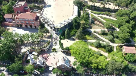 turizm : Flying Drone over Park Guell in City Barcelona | 4k Stok Video