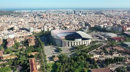 régészet : Flying with Drone over Nou Football Stadium FC Barcelona Stock mozgókép