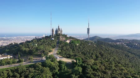 Drone over Temple of the Sacred Heart of Jesus and Tibidabo Amusement Park
